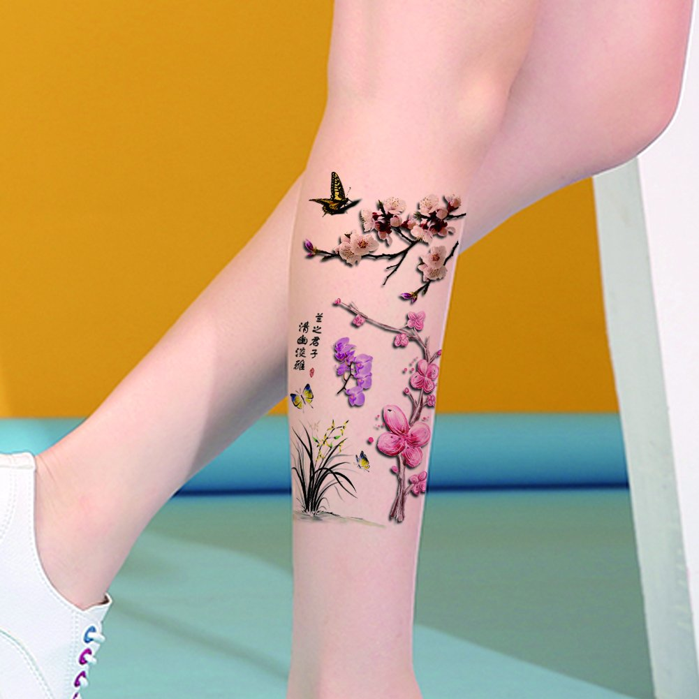 b10448caa Amazon.com : TAFLY Orchid and Butterfly Sexy 3D Waterproof Tattoos Fake Body  Transfer Temporary Tattoos for Women 5 Sheets : Beauty