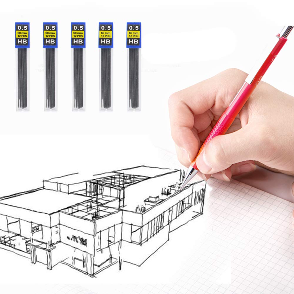 540 pcs HB Black Lead Refills,cnomg Mechanical Pencil Refills for Painting, Marking, Sketching Writing 45 Tubes (0.5mm)