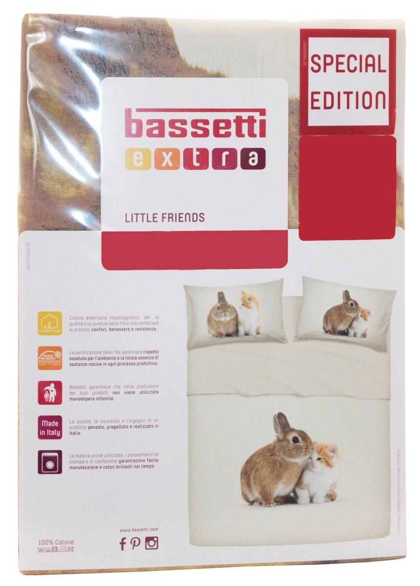 Dogs e Cats Completo Letto Lenzuola Copriletto Matrimoniale Due 2 Piazze Bassetti Extra 100/% Puro Cotone