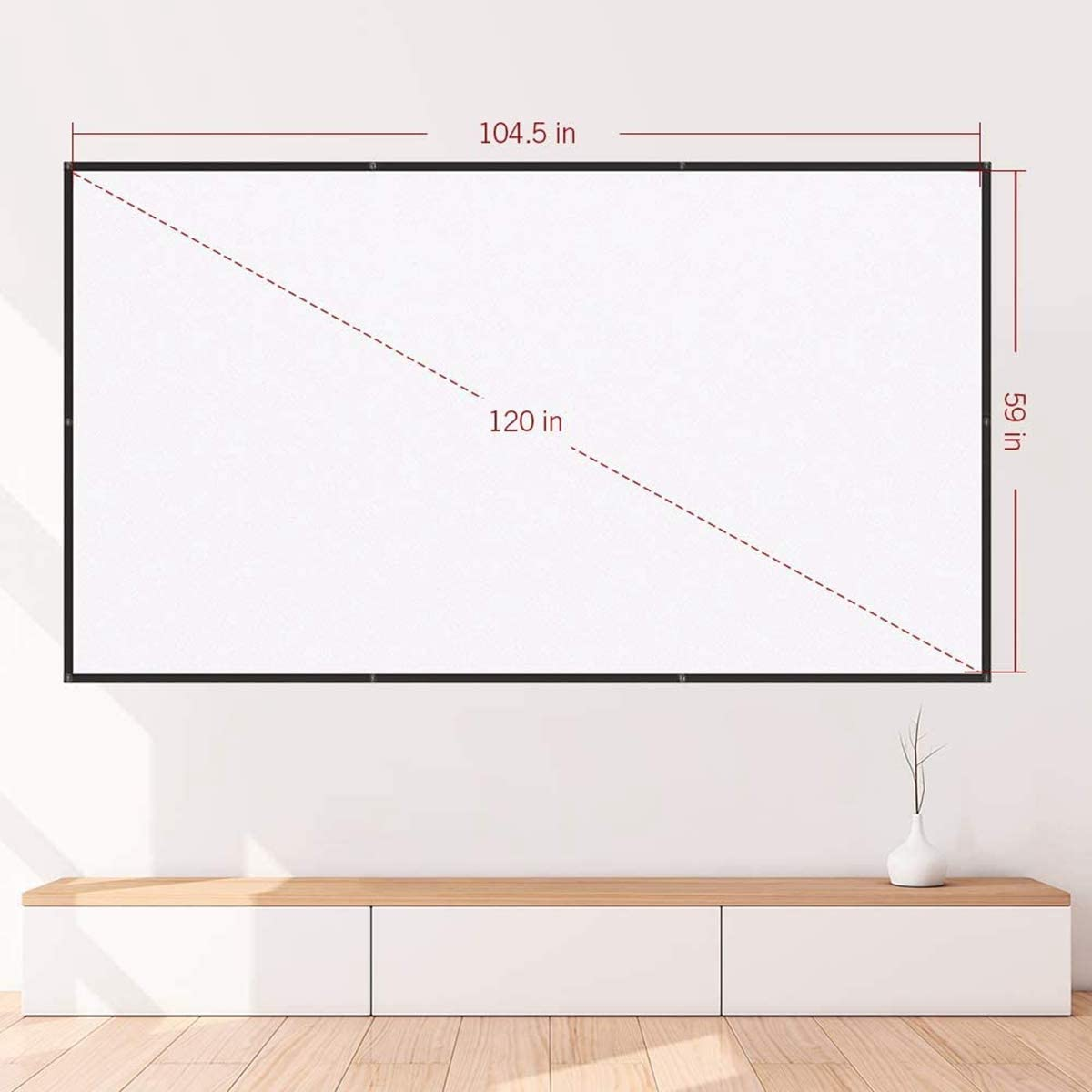 Foldable and Portable 120 Inch Projector Screen 16 9 HD Anti-Crease Projection Movies Screen for Home Theater Outdoor Indoor