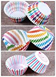 STARUBY Paper Baking Cups 300 Count Muffin Cupcake Liners Rainbow Combo Styles Standard Baking Cups Disposable Cupcake Carrier