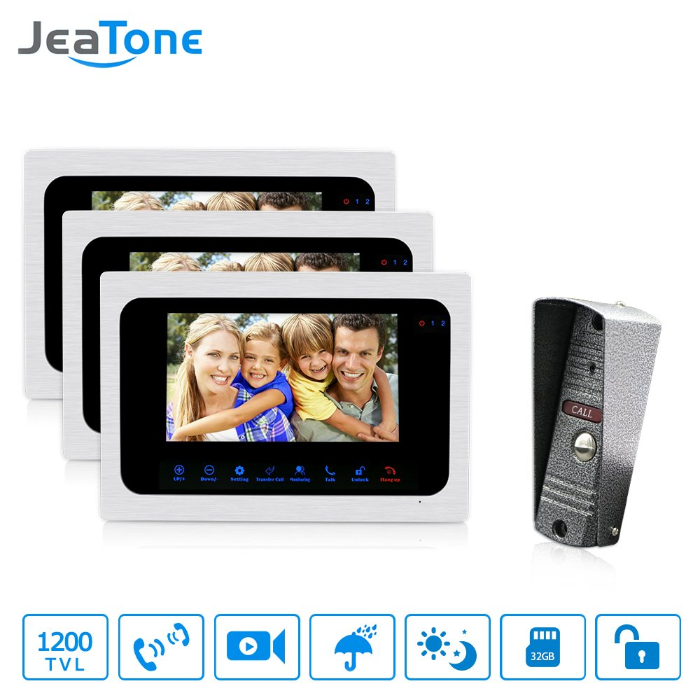 JeaTone 7 Inch Intercom Door Station with Door Release Door Bell Camera Door Phone Intercom System 1 Camera 3 Monitors 1200TVL HD Night Vision Home House Security