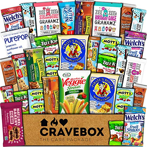CraveBox Healthy Care Package (30 Count) Natural Bars Nuts Fruit Health Nutritious Snacks Variety Gift Box Pack Assortment Basket Bundle Mix Sample College Student Office Fall Final Exams Christmas