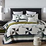 Alicemall 100% Cotton Super Soft and Breathable Quilt / Bedspreads Set (Geometric, King)