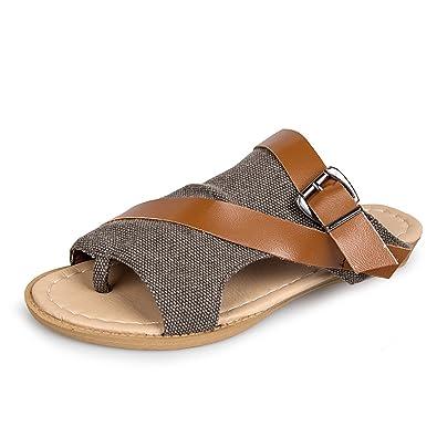 Damen Sandalen, Sommer Leder Pantoffel Zehentrenner Handmade Flip Flops Komfort Mesh Sandaletten Hausschuhe Blume Pantoletten Gracosy