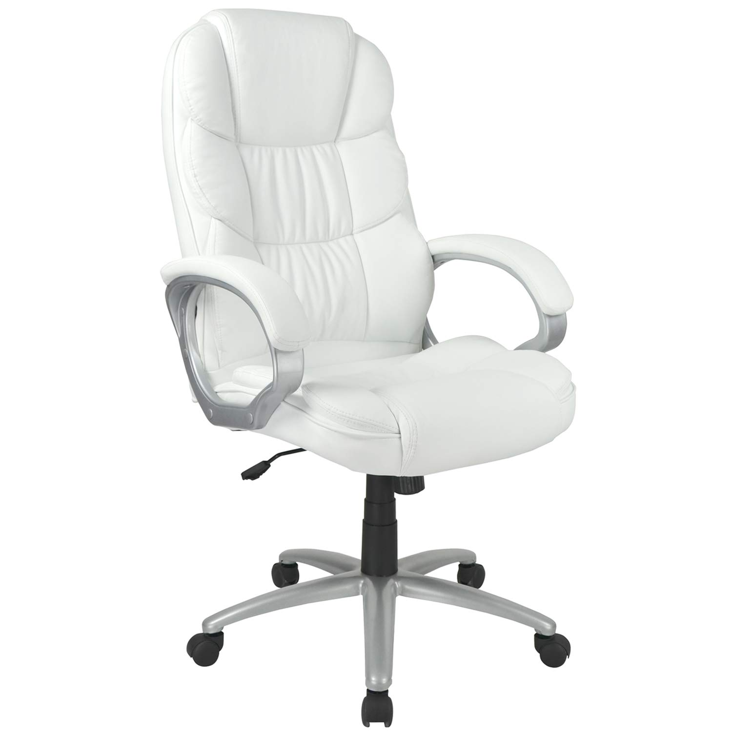 Office Chair Ergonomic Desk Chair PU Leather Computer Chair Task Rolling Swivel Stool High Back Executive Chair with Lumbar Support Armrest for Home Office, White