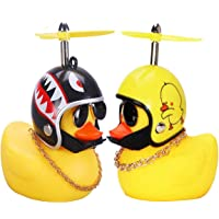 2 Pcs Rubber Duck Toy Car Ornaments Yellow Duck Car Dashboard Decorations with Take-Copter Helmet for Adults, Kids…