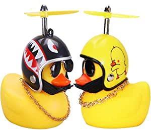 2 Pcs Rubber Duck Toy Car Ornaments Yellow Duck Car Dashboard Decorations with Take-Copter Helmet for Adults, Kids, Women, Men Set(Style 1