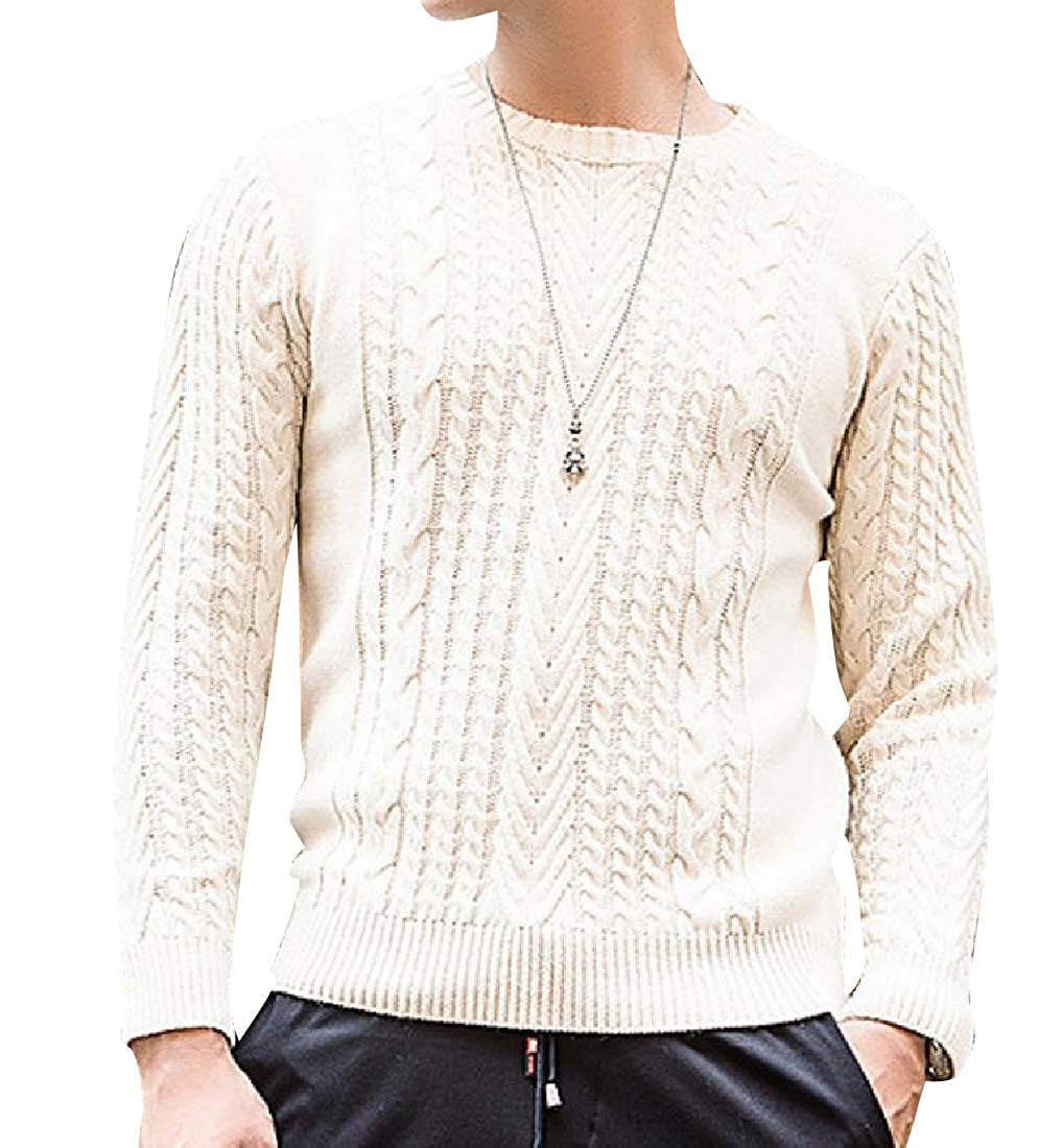 YUNY Mens Stay Warm Wollen Relaxed-Fit Crew-Neck Textured Jumper 2 S
