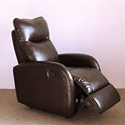 Panama Breath Leather Recliner Chair Contemporary Chocolate Leather Recliner Chair for Modern Living Room Durable Framework