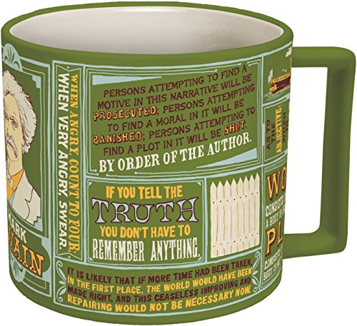 Mark Twain Coffee Mug - Twain's Most Famous Quotes and Depictions - Comes in a Fun Gift ()