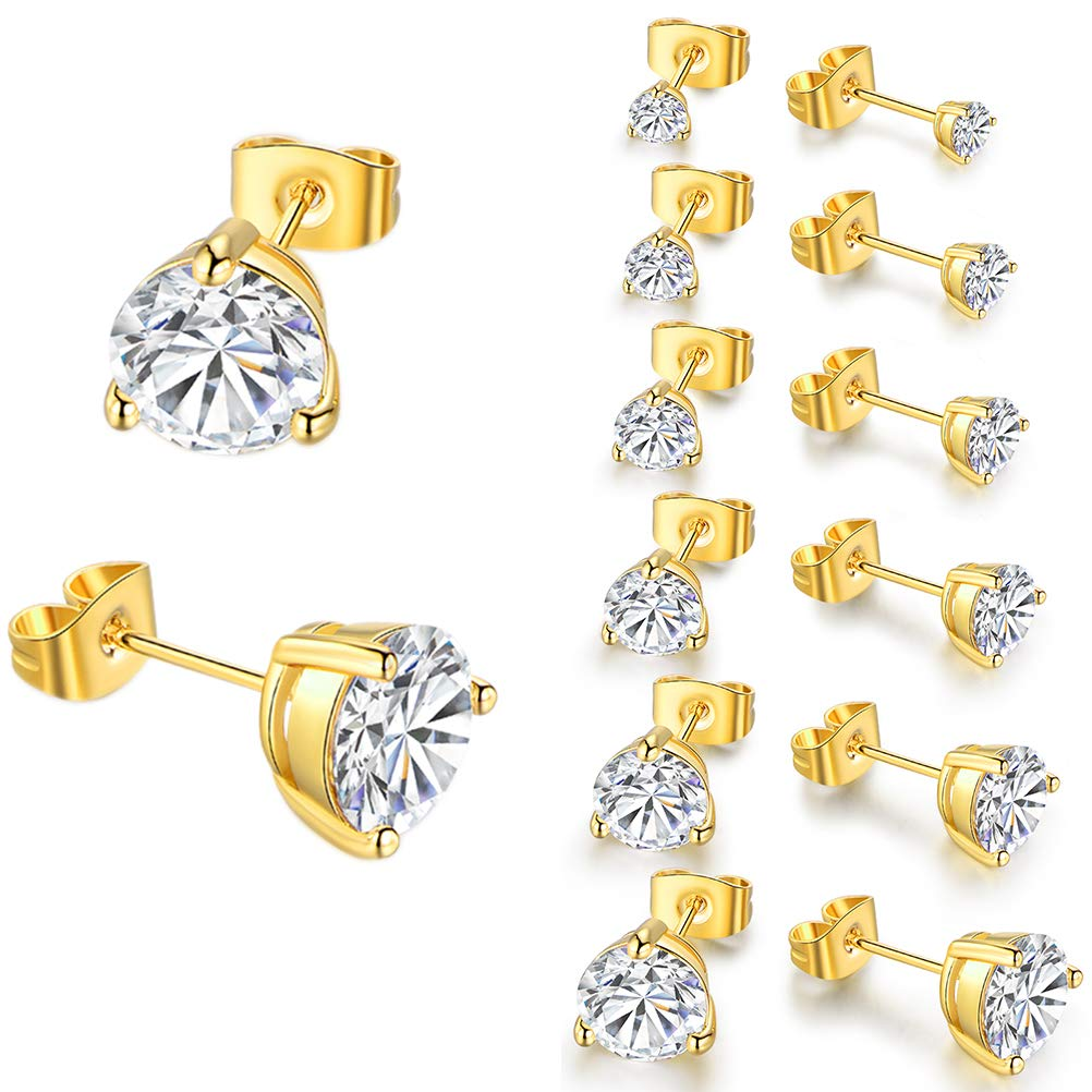 b97412247 Gold Plated CZ Stud Earrings with Round Cubic Zirconia Gift for Women Men  Kids 3/4/5/6/7/8mm