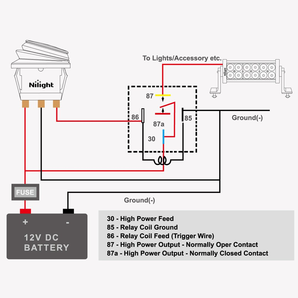 Nilight Automotive Relay Harness Set 5 Pin 30 40a 12v Spdt With 87a Function Interlocking Socket And Wiring Pack2 Years Warranty Ni Re05