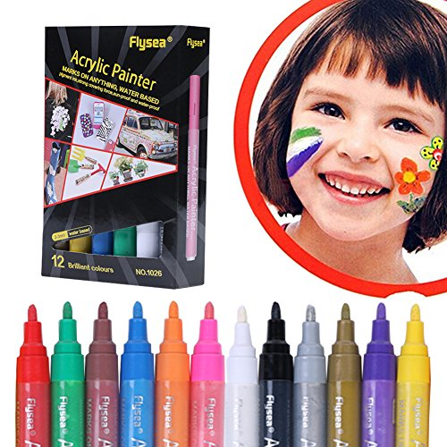 Acrylic Paint Pens,Paint Marker Pen,Permanent Paint Markers Set for Paper,Glass,Metal,Canvas,Wood,Ceramic,Fabric Painting,DIY Crafts,Quick Dry,12 Colors by Fancathy