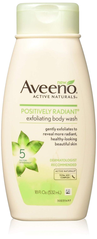 Aveeno Positively Radiant Body Wash Exfoliating 18 Ounce (532ml)