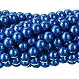 RUBYCA 200Pcs Czech Tiny Satin Luster Glass Pearl Round Beads Beading Jewelry Making 10mm Royal Blue