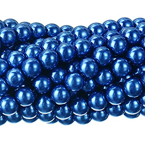 RUBYCA 200Pcs Czech Tiny Satin Luster Glass Pearl Round Beads Beading Jewelry Making 8mm Royal Blue - Baby Blue Beads