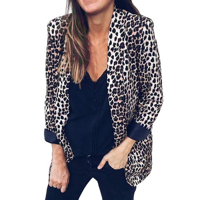 2018 Abrigo De Leopardo De La Mujer,ZARLLE Chaquetas Mujer Otoño Invierno Elegante Moda Vintage