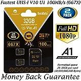 2 Pack 32GB Micro SD SDHC Memory Card Plus Adapter (Class 10 U1 UHS-I V10 A1 MicroSD HC Extreme Pro) Amplim 2X 32 GB Ultra High Speed 667X 100MB/s UHS-1. Cell Phone, Tablet, Camera TF MicroSDHC Flash