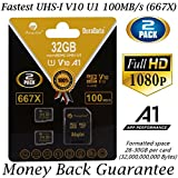 2-Pack 32GB Micro SD SDHC Memory Card Plus Adapter (Class 10 U1 UHS-I V10 A1 MicroSD HC Extreme Pro) Amplim 2X 32 GB Ultra High Speed 667X 100MB s UHS-1. Cell Phone - Tablet - Camera TF MicroSDHC Flash