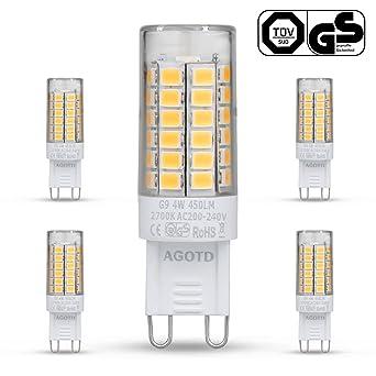 Superior AGOTD G9 LED Lampe,4W Warmweiß G9 LED Leuchtmittel Nicht Dimmbar,Ersatz Für  28W