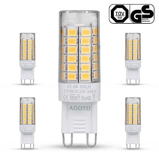 14 opinioni per AGOTD G9 Lampadine LED 4W, Equivalente 35W 40W Luce Alogena, 2700K Bianco Caldo