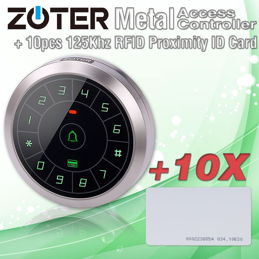 ZOTER Circular Metal Access Control EM ID 125Khz Password Wiegand 26 34 RFID Card Reader Keypad Support Up to 8000 Users for Home Office Security System with 10x RFID Card ACRC80+IDC1Wx10