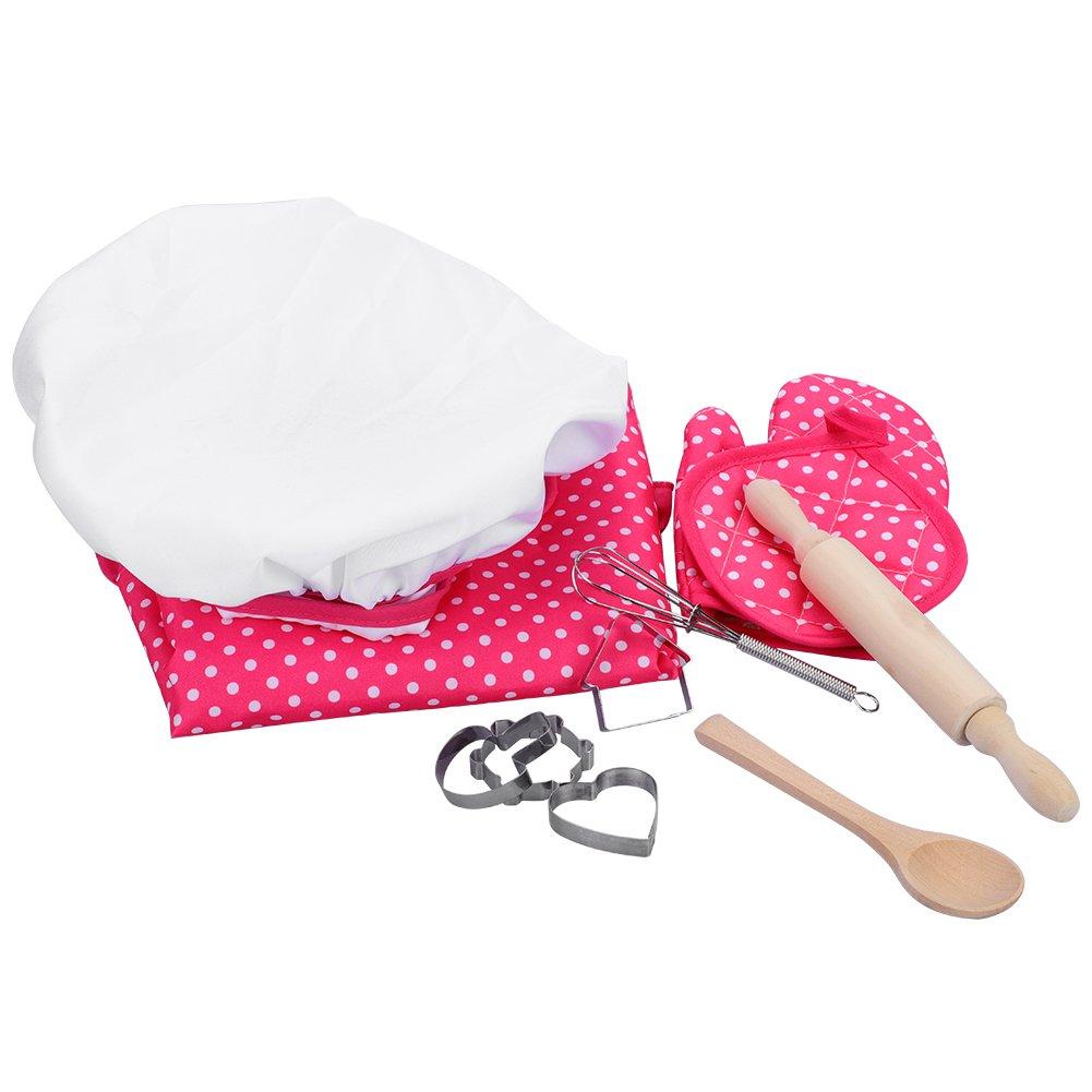 Juego de chef para niños Niños Juego de imaginación para cocinar con juegos de rol de niños pequeños Juego de roles con delantal para niñas, gorro de ...