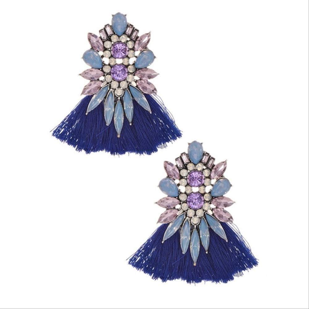 Pendiente cuelga los pendientes largos de la borla bohemia Mujeres de la boda Pendientes colgantes baratos coloridos de lazafiro azul claro
