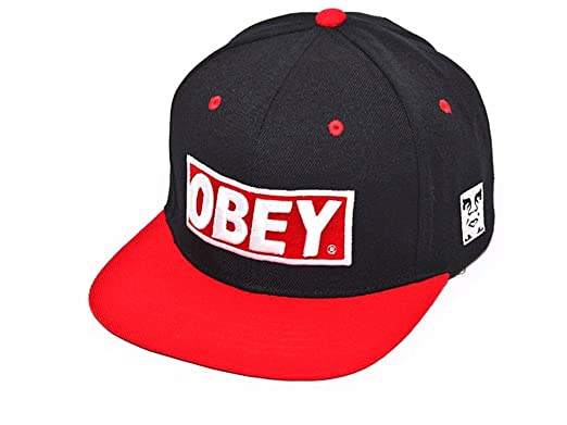 5a294fd844655 Obey Snapback Hat Black Red Green Baseball Cap (Black Red)  Amazon.co.uk   Clothing