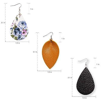 Choose Color Leather Leaf Earrings circle Leaf Earrings Leather Earrings rose gold teardrop Leather