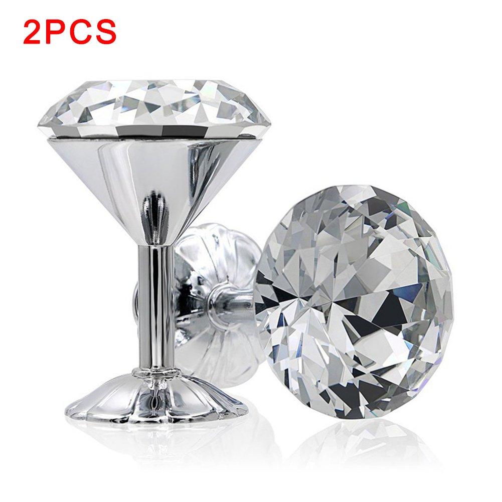 2pcs ZAK168 Lot de 2 embrasses /à Rideaux en Forme de Boule de Cristal pour Rideaux en m/étal europ/éen argent/é