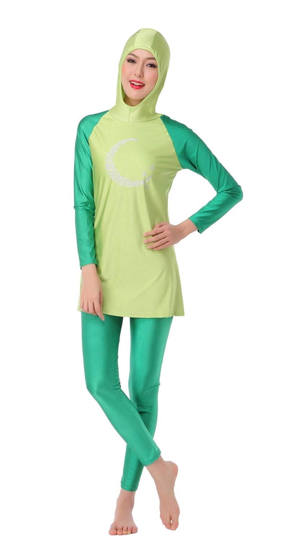 b7385fbdd72 Fortuning s JDS Women Muslim Burkini 2-Pieces Full Cover Hijab Swimsuit   Amazon.co.uk  Clothing
