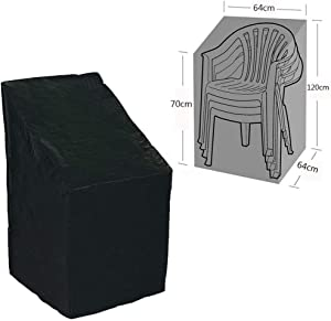 "Stackable Patio Home Chair Cover,Durable/Waterproof/Dustproof Furniture Cover with Adjustable Hem Cord for Easy Fitting,Large Outdoor Stacking Chairs Cover 25"" L x 25"" W x 47"" H CYFC66 (Black)"