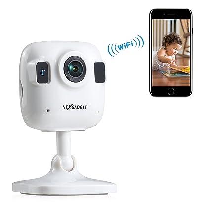 NEXGADGET Ip Cámara de Seguridad Wifi Mini Audio Bidireccional con Mic Altavoz Interior Detección Movimiento Visión