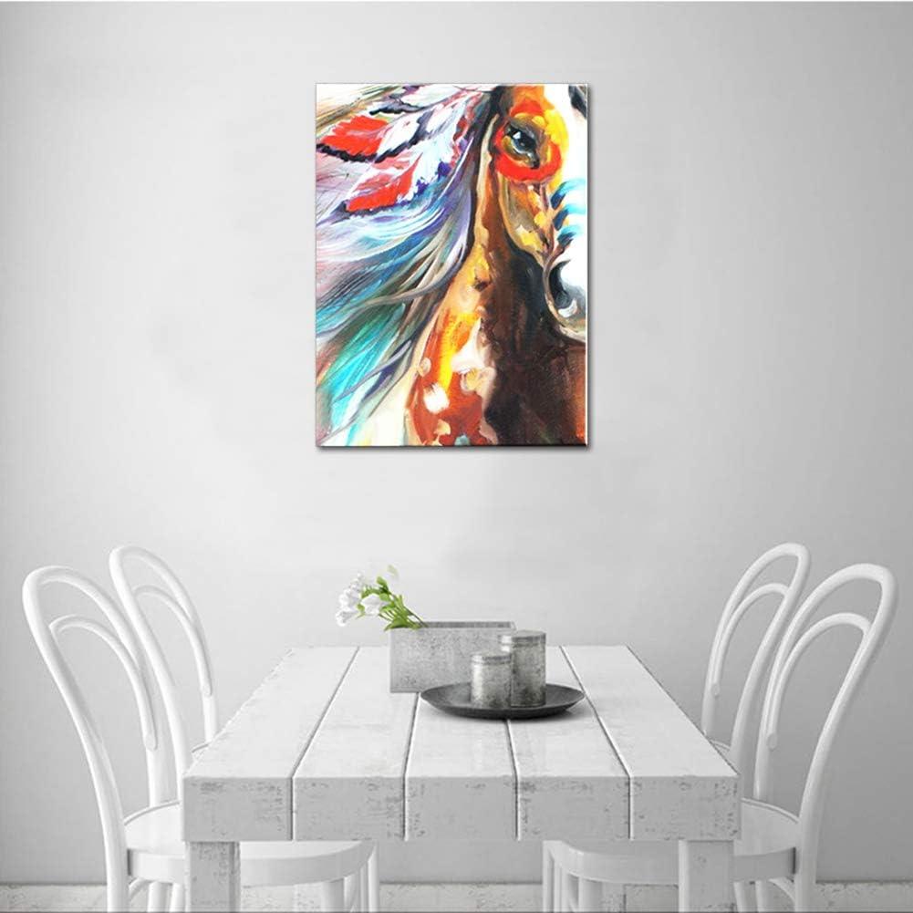 Animales Pintura al óleo Dibujado a Mano Retrato de Caballo Indio Lienzo Arte Cuadro Colorido Acrilica Pintura Hogar Pared Decoración Fácil de Colgar,WithFrame,40x60cm
