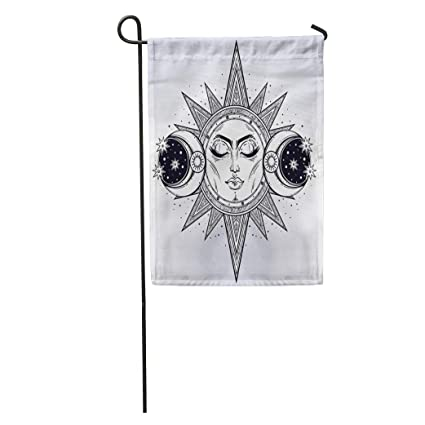 Semtomn Garden Flag Vintage Sun Two Moon Night Sky For Coloring Book Tattoo Home Yard House Decor Barnner Outdoor Stand 28x40 Inches Flag