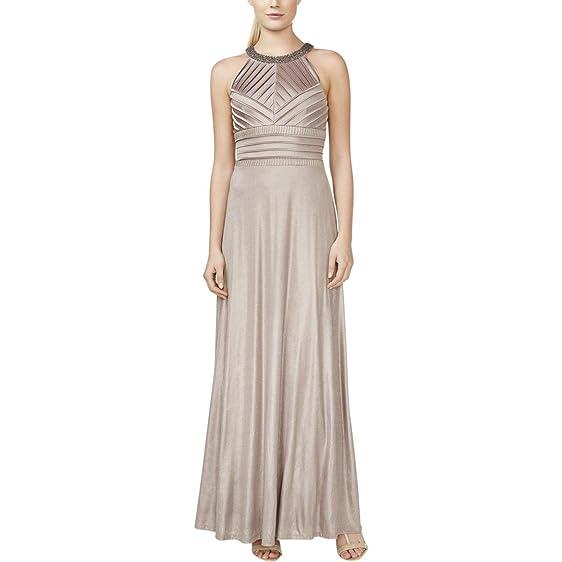 Calvin Klein Womens Embellished Pintuck Evening Dress At Amazon