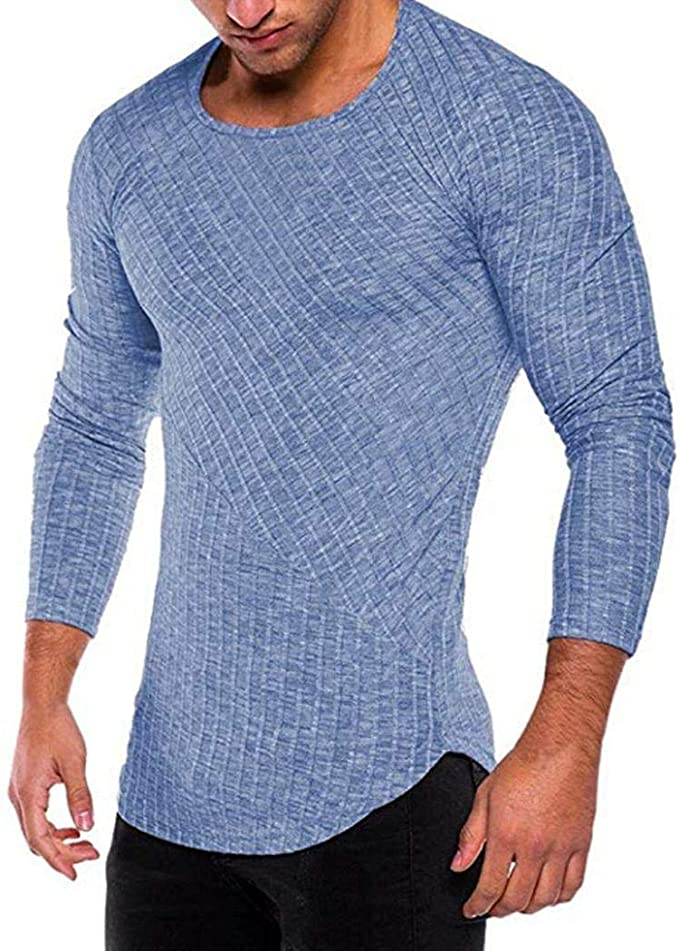 Wixens Hombre Camiseta Manga Larga Slim Fit Algodón Basic Fitness ...