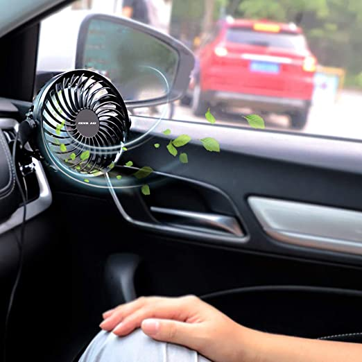 USB Powered Only Ideal for Driver Passenger Baby Pet Portable Vehicle Cooling Fan for Car Front/&Back Seat OPOLAR New Mini Car Fan Multi-Directional Clamp 360 Degree Rotation Four Speeds