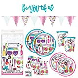 Girls Spa Makeup Birthday Party Supplies Pack - Dinner Plates, Cake Plates, Napkins, Cups (Deluxe - Serves 16)