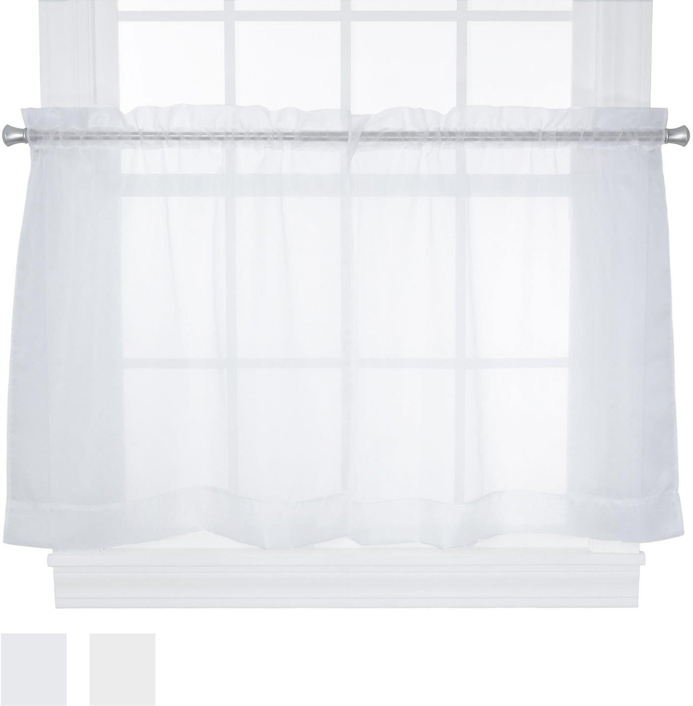 Ellis Curtain Jessica Sheer Tailored Tier Curtains, 54 by 30-Inch, White