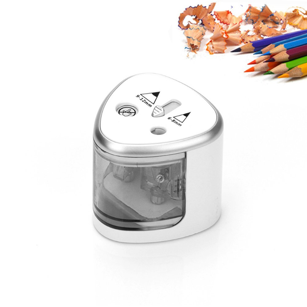 Electric Pencil Sharpener, Double Hole Colored Pencils Battery Operated Sharpeners Automatic Pencil Cutter for Kids, Adults, Artists, School, Home, Office, Studio, Silver