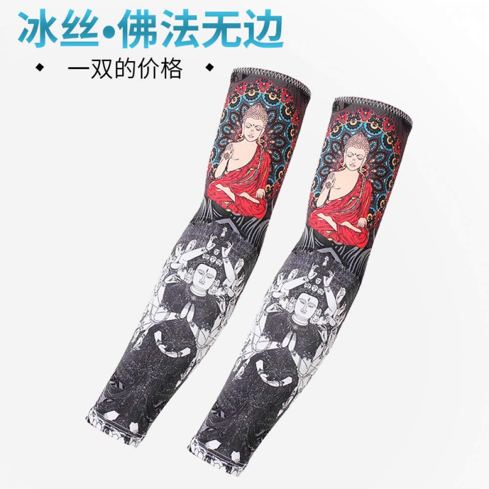 CXQ hielo seda brazalete protector solar tatuaje flor masculina ...