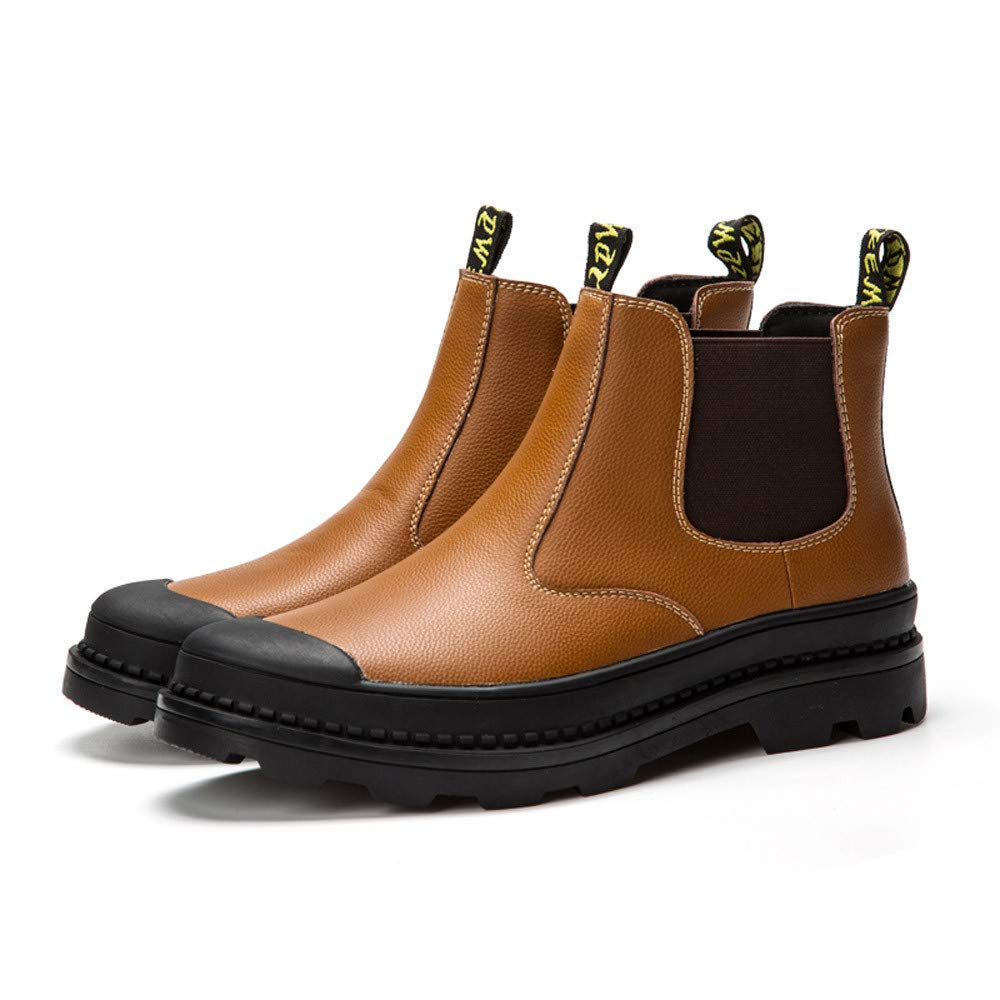 Fashion Mens Flat Low-Heeled Round Head Tooling Shoes Non-Slip Leather Boots RedBrowm