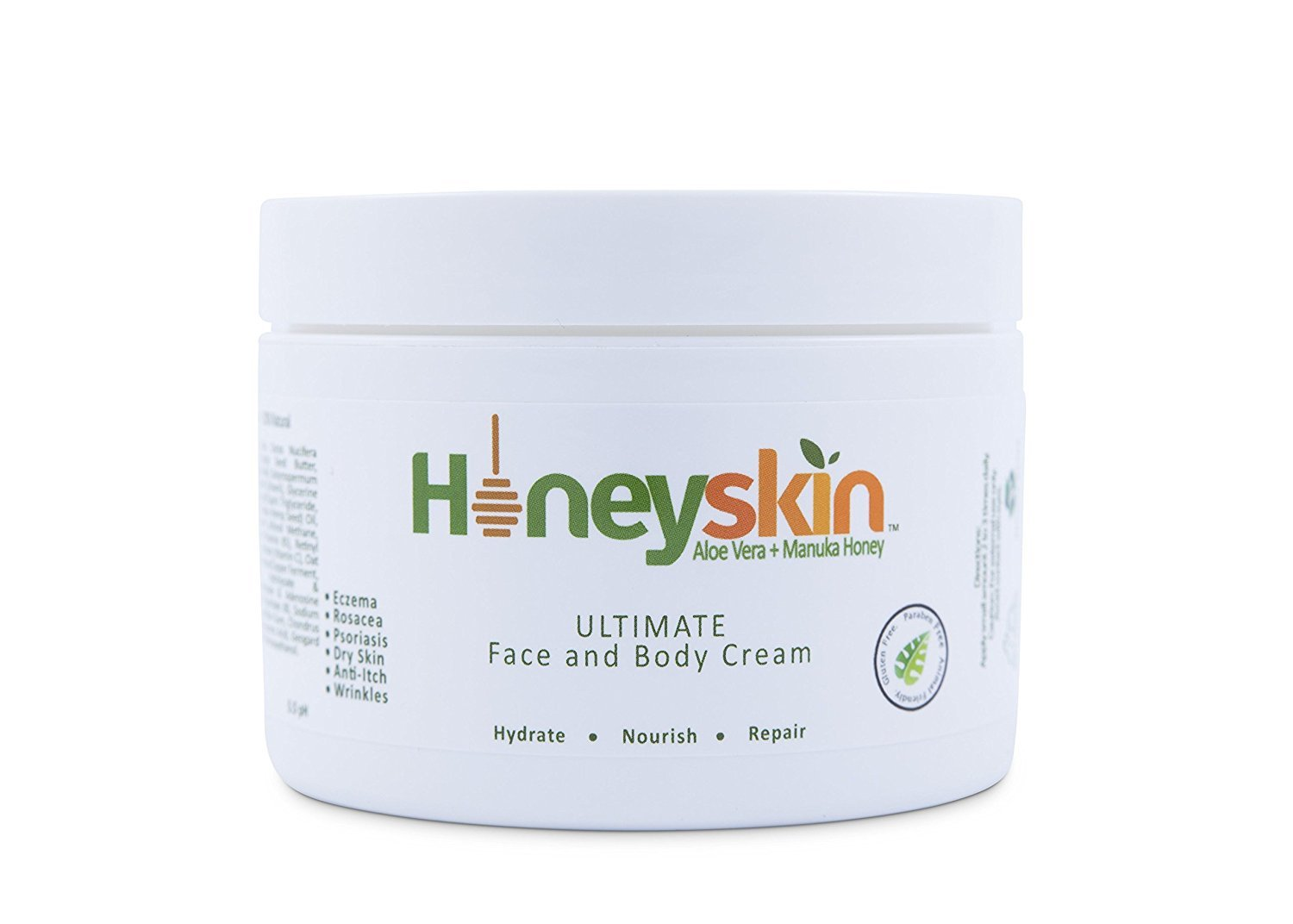 Eczema Repair Cream for Face & Body (8 oz) Soothing, Organic Moisturizer, Rosacea, Psoriasis, Rashes, Dry Skin, Wrinkles, Manuka Honey, Aloe Vera, Coconut Oil, MSM (8 oz) by Honeyskin