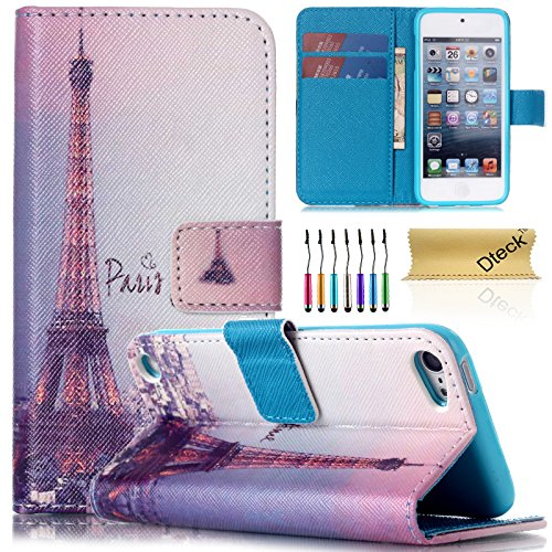 iPod Touch 5 Case, iPod Touch 6 Case, Dteck(TM) Colorful Synthetic Leather Flip Stand Magnet Wallet Case [Cards/Money Holder] Protective Cover for Apple iPod Touch 5th 6th Gen (1 Pink Eiffel Tower) (Ipod Touch 5 Flip Cases For Girls)