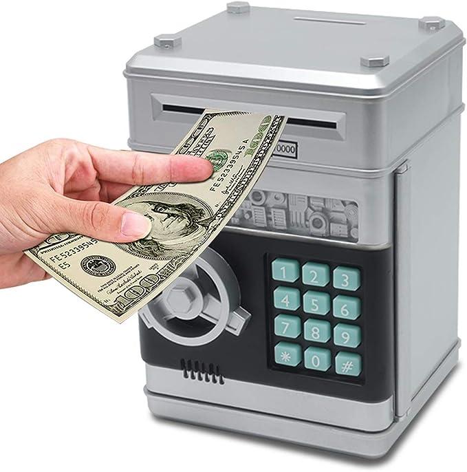 Kids Money Banks Home Ornament Safe Metal Coins Cash Money Case Cute Piggy Bank with Key /& Password Lock Blue Creative Mini ATM Small Money Box