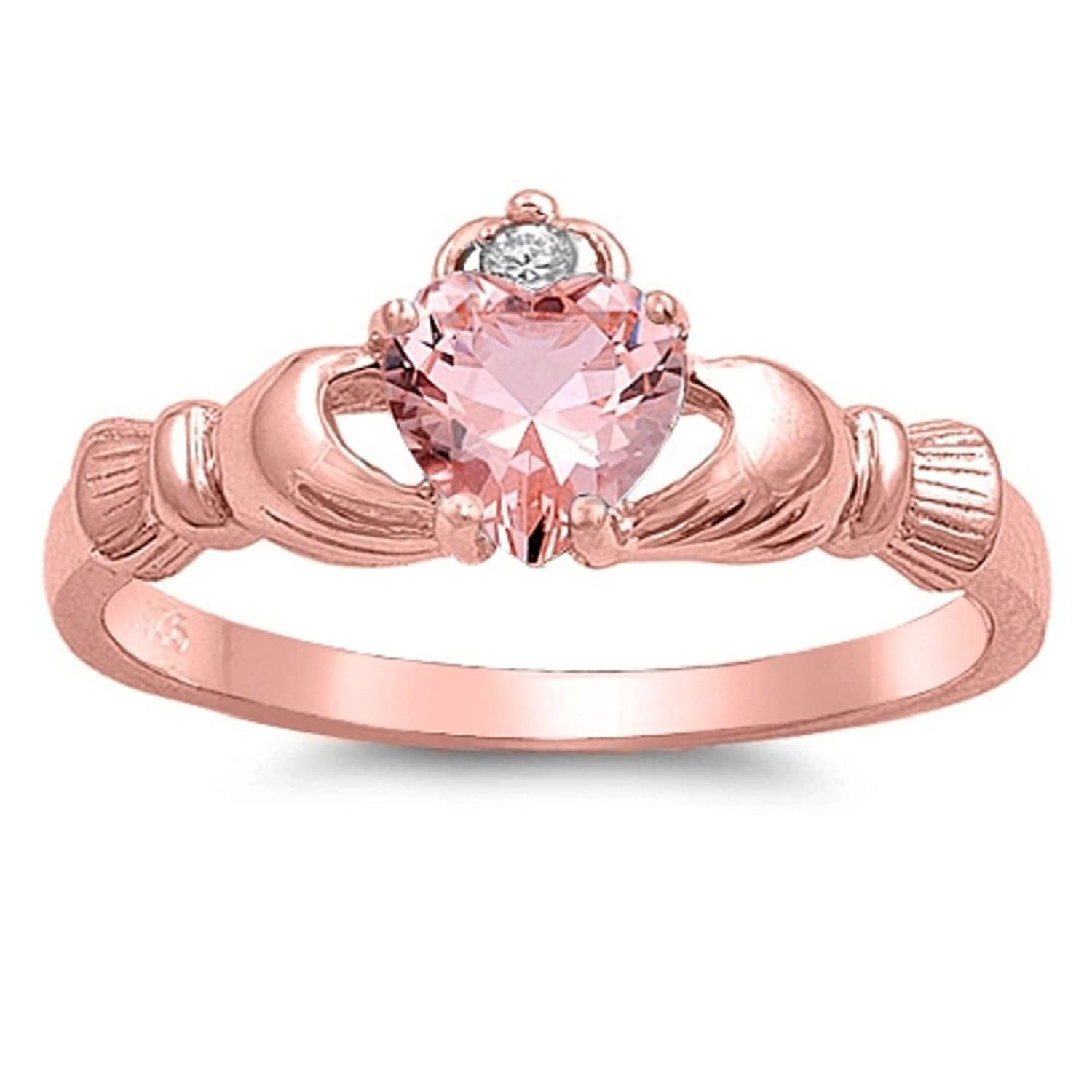 Amazon.com: Rose Gold-Tone Plated Pink Champagne Cubic Zirconia ...