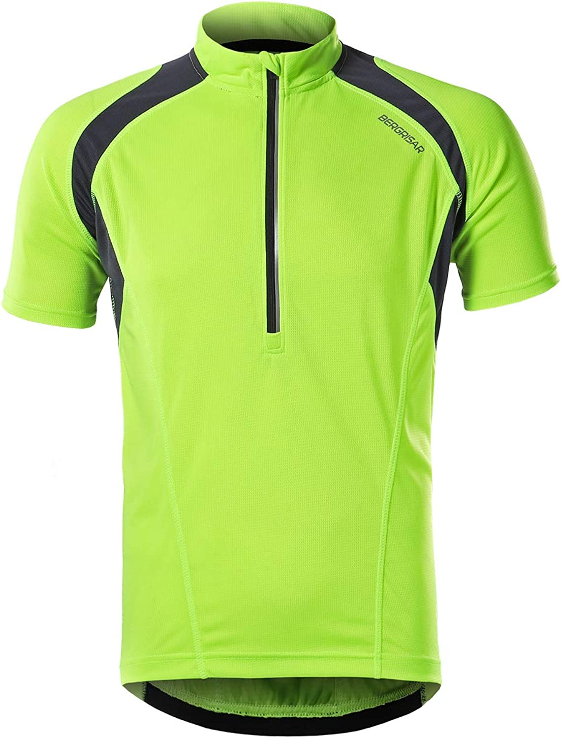 BERGRISAR Mens Half Zipper Cycling Jersey Short Sleeves Bike Bicycle Shirts with Zipper Pocket Quick-Dry Breathable BG060